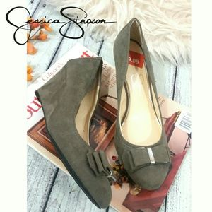 Gray Faux Suede Wedges Jessica Simpson SAVITAA